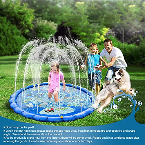 MECHICOO Sprinkler for Kids Splash Play Mat 68'' Summer Outside Water Toy, Space Theme Inflatable Baby Wading Pool for 3 4 5 6 7 8 Years Old Boys Girls Gift