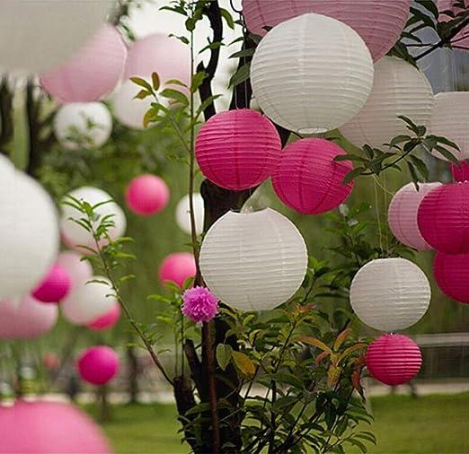 Farolillos de papel decorativos, farolillos de un conjunto de 8 pulgadas para la decoración de bodas, cumpleaños y jardín: Amazon.es: Hogar