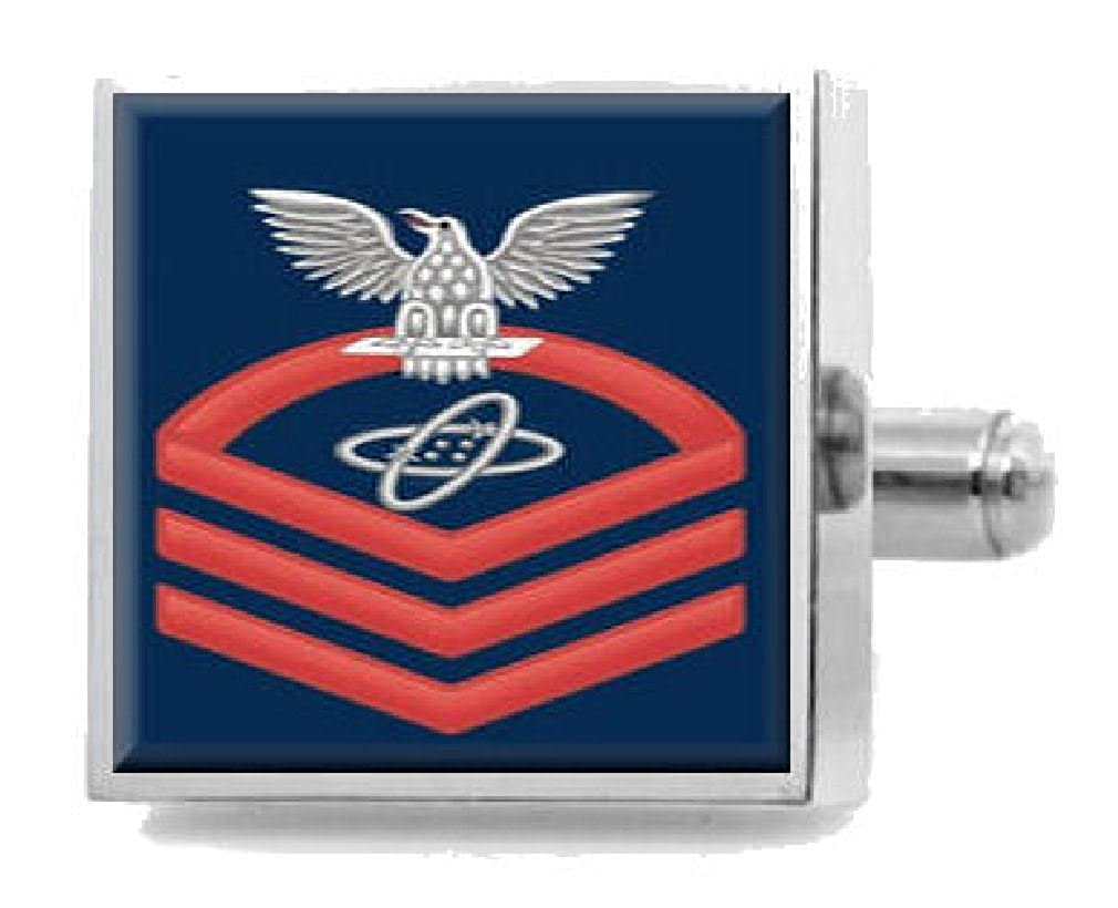 Sterling Engraved Cufflinks U.S Navy Chief Red E-7 Electronics Technician ET