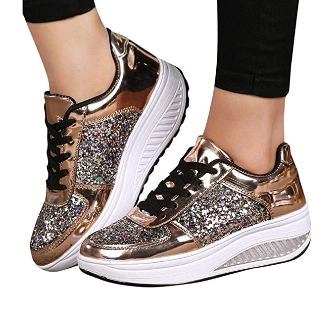 10c6f55b685f8 Sneakers For Women,Clearance Sale!!Farjing Wedges Sneakers Sequins Shake  Shoes Fashion Girls Sport Shoes