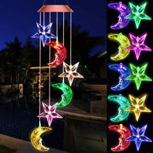 Color Changing Star Moon Solar Wind Chimes Lights Gifts Portable Hanging Waterproof Mobile Romantic Wind Bell Outdoor LED Solar Stars Moon Light for Mom Gift Festival Home Patio Yard Garden Decoration