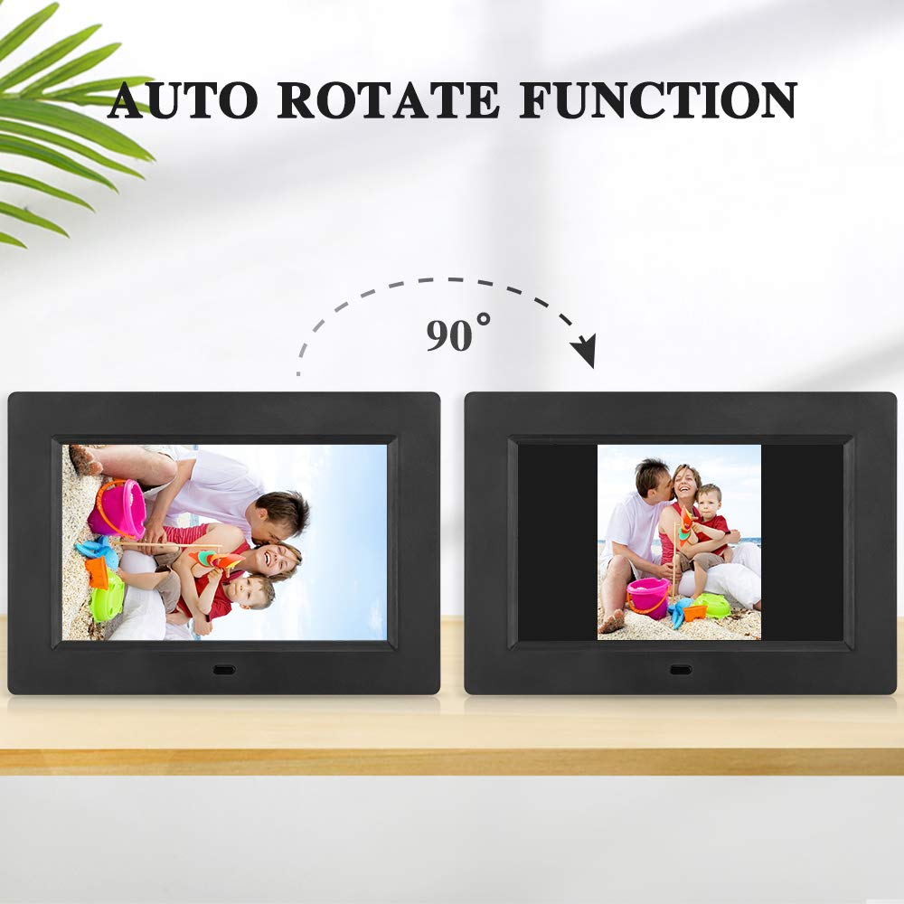 MRQ 7 Inch Digital Photo Frame Play Photos with Slideshow, Full HD IPS Display 180° View Angle Digital Picture Frame with MP3, Calendar, Alarm, Remote Control Function, Support USB and SD Card by MRQ (Image #2)
