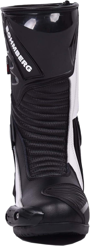 44 Bottes de Moto pour Homme en Cuir Robuste avec Protections de Coque rigides expos/ées Bottes de Sport en Cuir Imperm/éable BOHMBERG/®