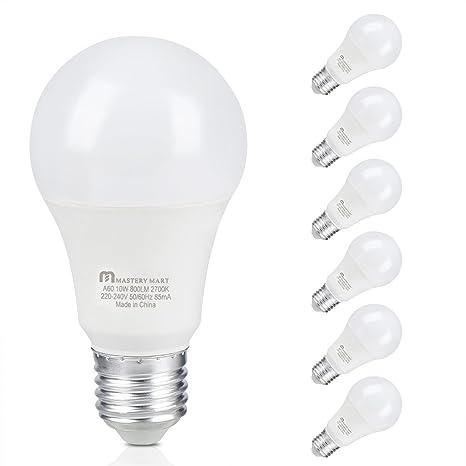 Mastery Mart - Bombilla LED A60 de color blanco cálido, rosca Edison mediana E27 de