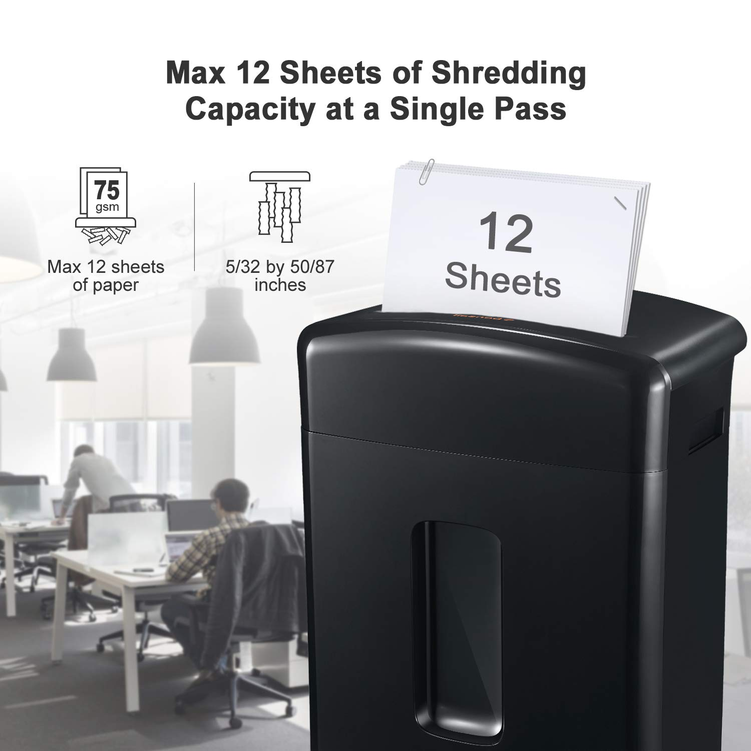 Bonsaii 12-Sheet Cross-Cut Paper, CD/DVD, and Credit Card Shredder with 3.5-gallons Pullout Basket, Black (C220-A) by bonsaii (Image #2)