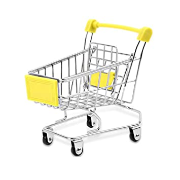 Yellow, M Fly Array Kids Mini Shopping Cart Roll Wheel Moving Doll Toys Holder Cool Desk Holder Tiny Cute Supermarket Cart Trolly Sturdy Metal Novelty Adorable Gifts for Children 7.1/×5.3/×6.5 inch