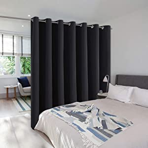 NICETOWN Room Seperating Divider, Room Divider Curtain Screen Partition, Function Thermal Blackout Patio Door Curtain Panel, Sliding Door Insulated Curtain for Patio, Black, 12.5ft Wide x 8ft Long