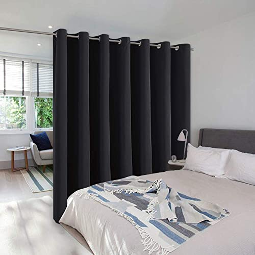 NICETOWN Room Divider Curtain Screen Partition, Function Thermal Blackout Patio Door Curtain Panel, Sliding Door Insulated Curtain for Patio, Black, 12.5ft Wide x 8ft Long