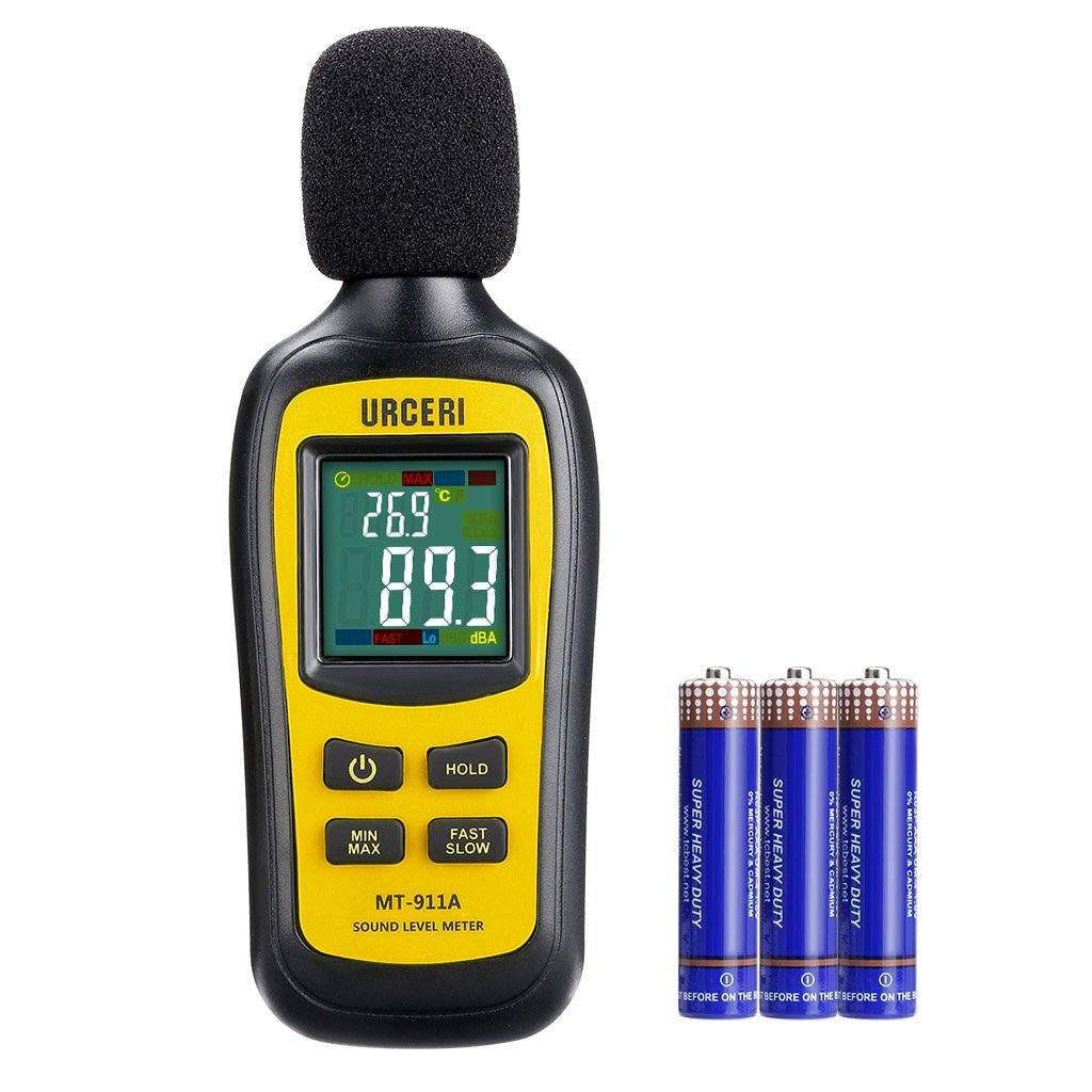 URCERI Noise Decibel Meter with 35dB-135dB Digital Sound Level Tester, Max/Min/Hold Mode, Temperature Measurer, Large LCD Color Screen Backlit Display, Battery Included, Black & Yellow