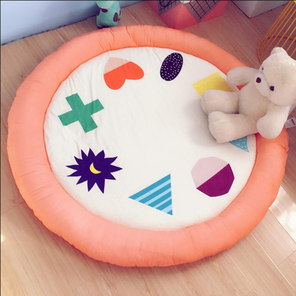 SHWSM Toddler pad Living Room Bedroom Cartoon Round Padded Drop-Proof Children's pad Crawling Game pad (Color : B) by SHWSM