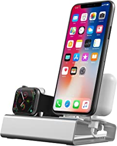 Charging Station for Apple Products, 3 in 1 Aluminum Charging Stand for Apple Watch 6 iPhone Airpods iWatch Docking Station Holder for Apple Watch Charger Stand Series SE 6 5 4 3 2 1 Nightstand Mode