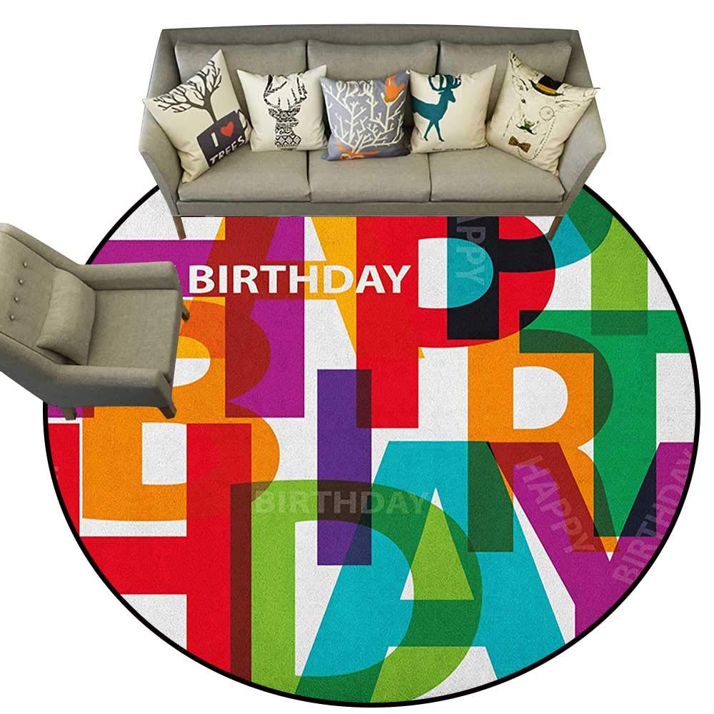 Style12 Diameter 48(inch& xFF09; Birthday,Personalized Floor mats The Words Happy Birthday with Vivid Balloons Confetti Rain Blithesome Happy Day D54 Floor Mat Entrance Doormat