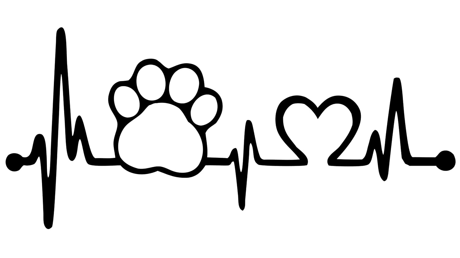 7.5 Bluegrass Decals Pet Paw Heartbeat Lifeline Dog Decal Sticker White, 7.5