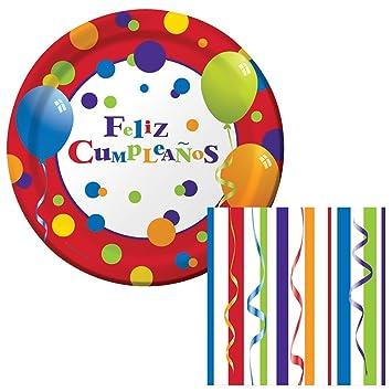 Amazon.com: Feliz Cumpleanos Dessert Napkins & Plates Party ...