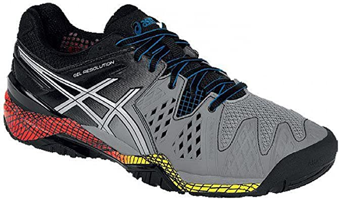 ASICS Men's Gel Resolution 6 Tennis Shoes SmokeSilverBlack