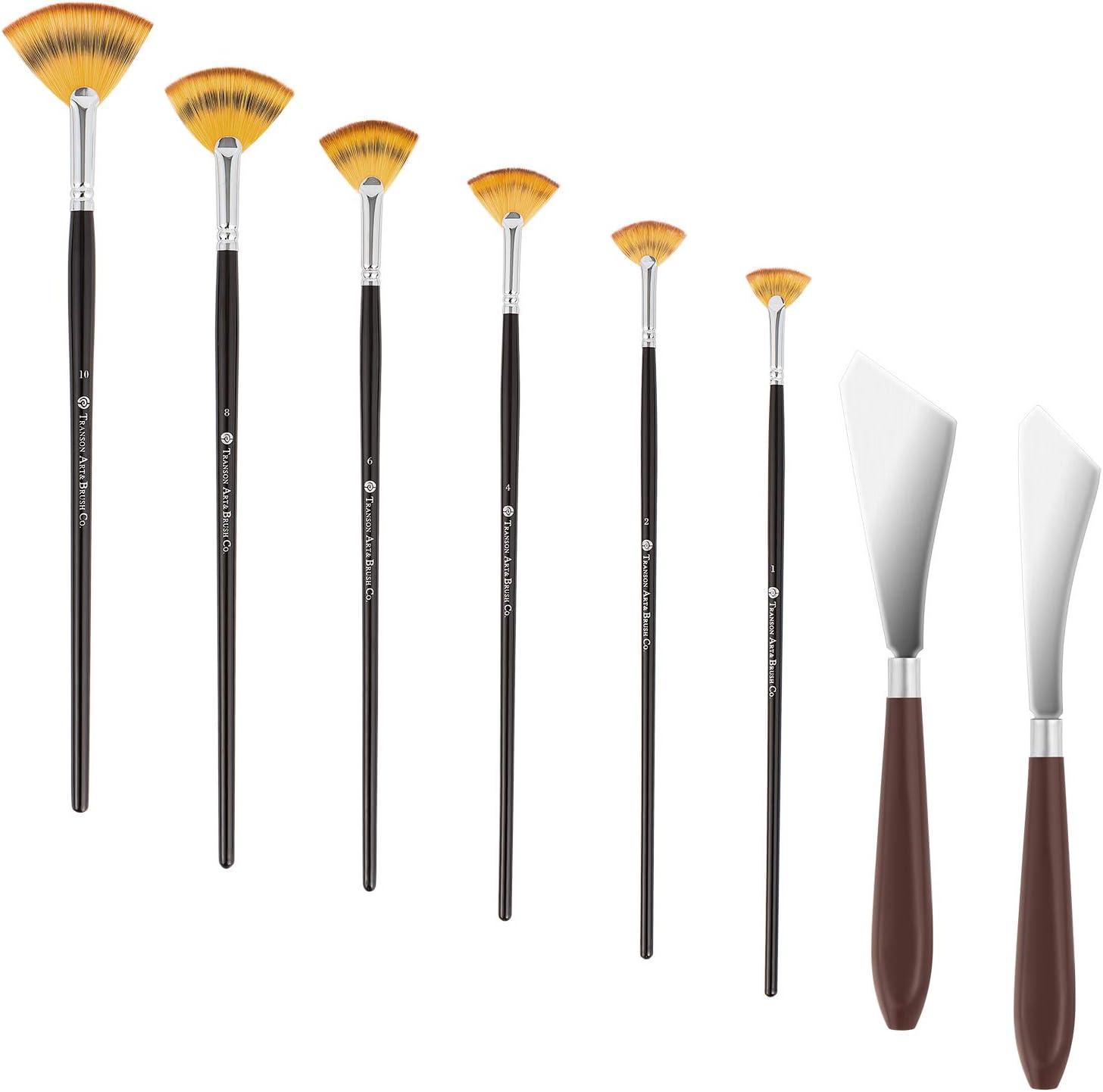 Fan Brushes Artist Soft Anti-Shedding Nylon Hair Paint Brush 8C
