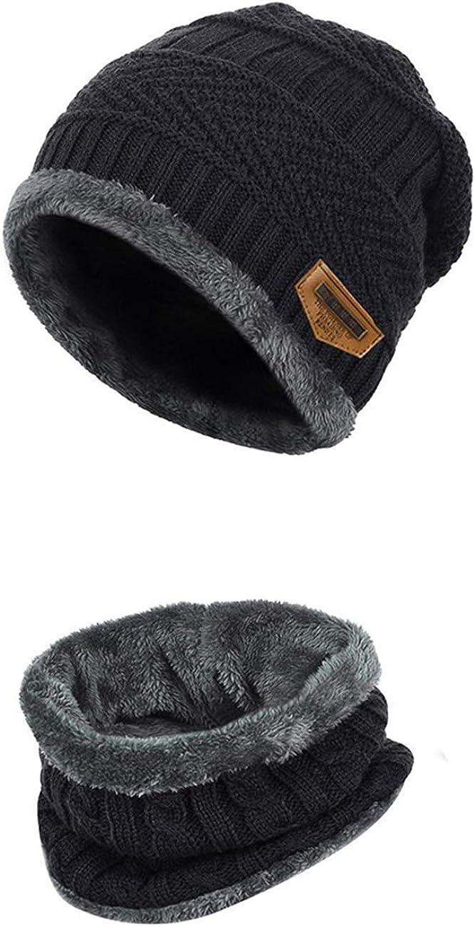Girls Boys Knitted Hat Beanie Scarf Set Winter Warm 4-12 Years