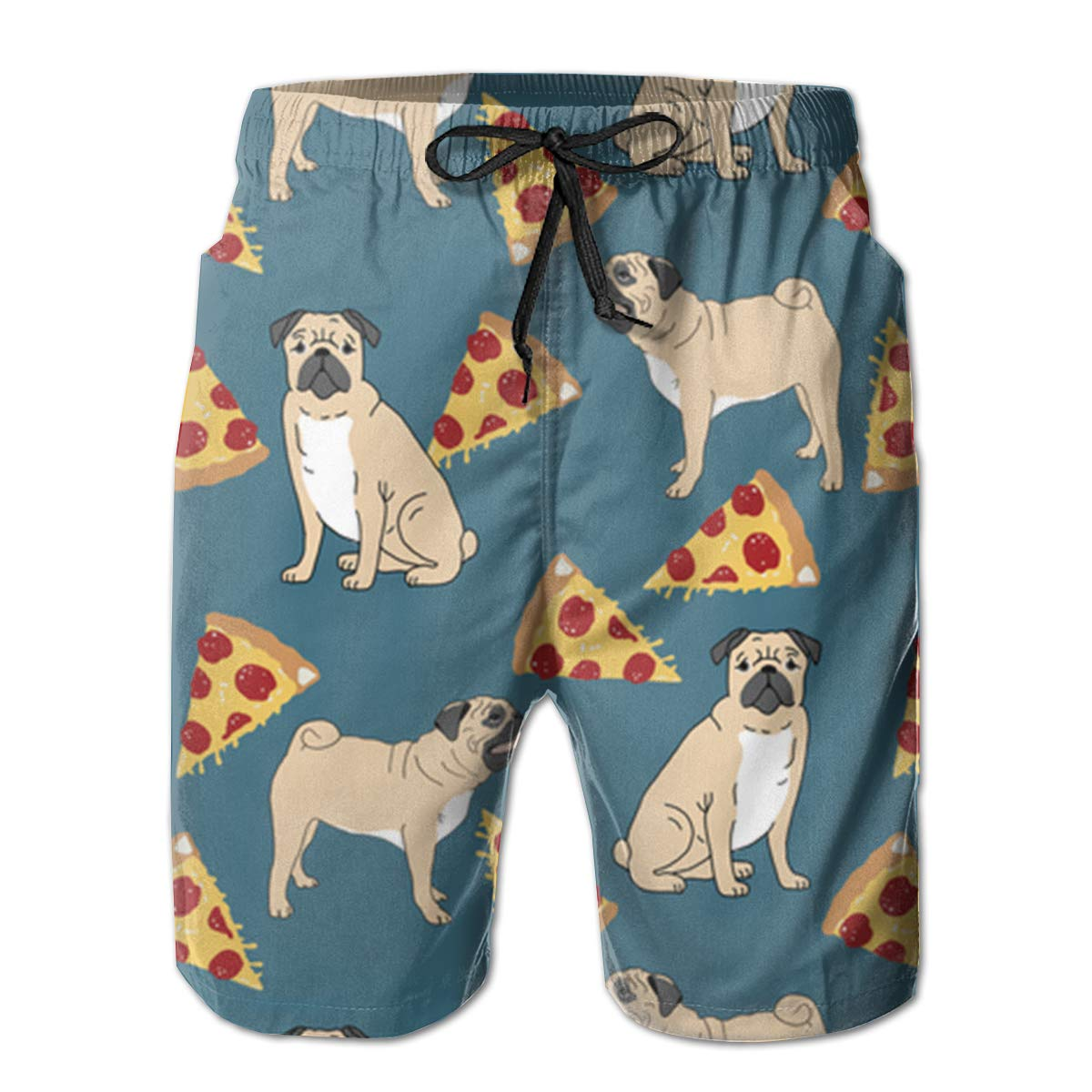 Bilybily Pug Pizza Blue Shop Preview Mens Swim Trunks Quick Dry Board Shorts with Pockets Summer Beach Shorts