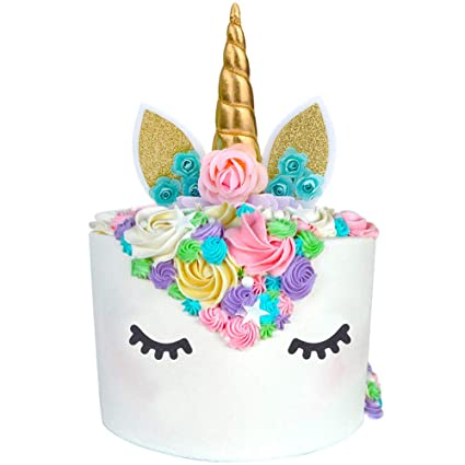 Unicorn Cake Topper Party Supplies Horn Ears Decoration With Flowers For