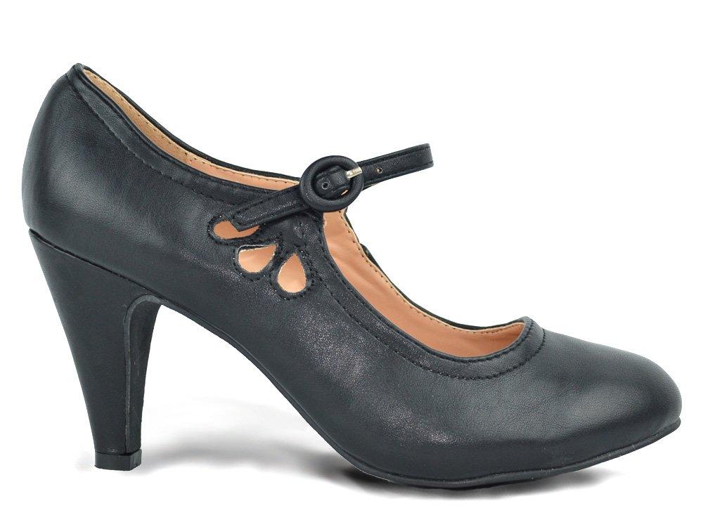 Chase & Chloe Kimmy-21 Women's Round Toe Pierced Mid Heel Mary Jane Style Dress Pumps (8, Black PU)