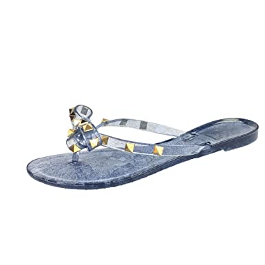 Amazoncom Women Stud Flat Flip Flops Rivet Bow Sandals Beach Jelly