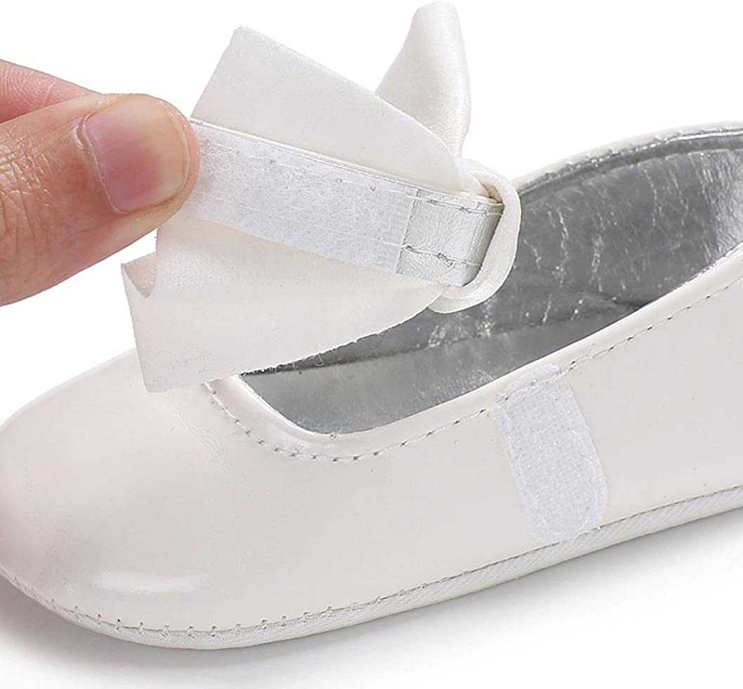 Jinjiu Infant Baby Girl Bowknot Mary Jane PU Leather Anti-Slip Crib Shoes