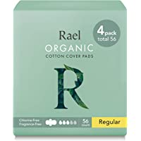 (4 Pack) - Rael 100% Organic Cotton Menstrual Regular Pads - Ultra Thin Natural Sanitary Napkins With Wings (4 Pack of 14 Pads)