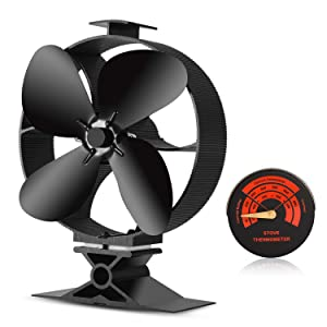 CWLAKON 2018 Upgrade Designed Silent Operation 4-Blades Large Size Heat Powered Stove Fan with Stove Thermometer for Wood/Log Burner/Fireplace,Eco Friendly and Efficient Heat Distribution