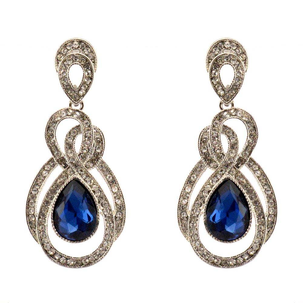 207-NAVY DARK BLUE Fashion Party & Wedding Jewelry Tear Drop Dangle Chandelier Alloy Rhinestone Earrings