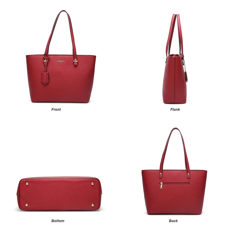 ELIMPAUL Women Fashion Handbags Tote Bag Shoulder Bag Top Handle Satchel Purse Set 4pcs by ELIMPAUL (Image #2)