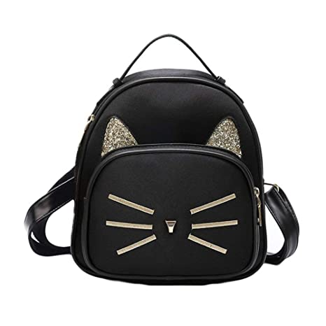 1d4d7bb56c6 Amazon.com | Teenager Girls Cute Cat Mini School Backpack Purse Casual  Daypack Small Bag for Women Black | Casual Daypacks