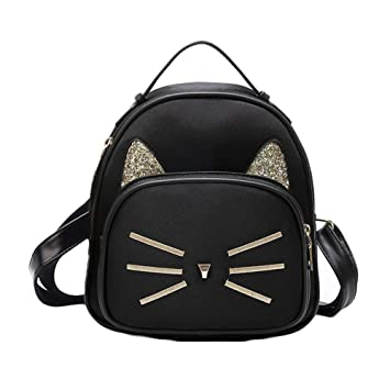 9c12132fc39 Teenager Girls Cute Cat Mini School Backpack Purse Casual Daypack Small Bag  for Women Black