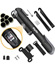 Diyife Bike Pump with Pressure Gauge, [120 PSI][Perfect Full Set] Mini Bicycle Pump, Ball Pump with Needle, Glueless Patch Kit, Cycle Valve Caps and Frame Mount Fits Presta &Schrader Valve