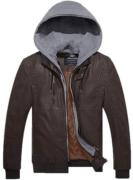Wantdo Giacca da Uomo in Pelle PU con Cappuccio Rimovibile  Amazon.it   Abbigliamento 72b158cc432