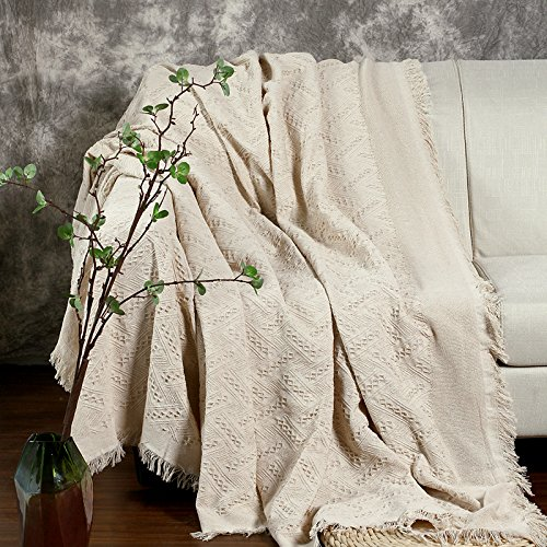 Large Size Cotton Thread Sofa Armchair Cover Throw Blanket with Tassels for 2 or 3 Seater Sofa 230 x 250cm White