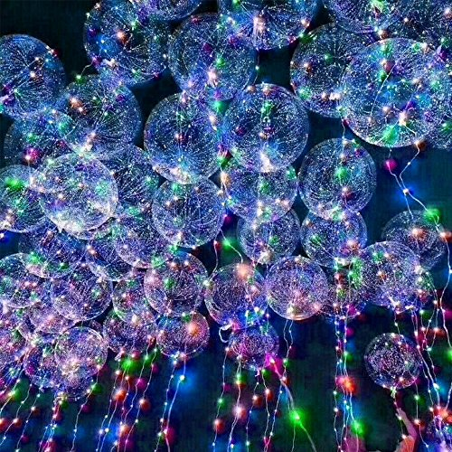 SUNKY 5pcs LED Light up Bobo Balloons, Latex Clear Transparent Round Bubble Colorful Flash String Decorations Wedding Room Courtyard Kids Birthday Party Set Glow Christmas Decor with Ball Pump by SUNKY (Image #8)