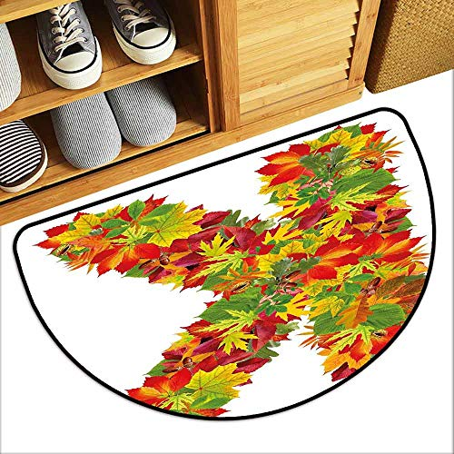 DILITECK Front Door Mat Large Outdoor Indoor Letter K Fresh Organic Fall Literature Fragrance Herbs Eco Woodland Inspired Capital K Sign Suitable for Outdoor and Indoor use W24 xL16 Multicolor