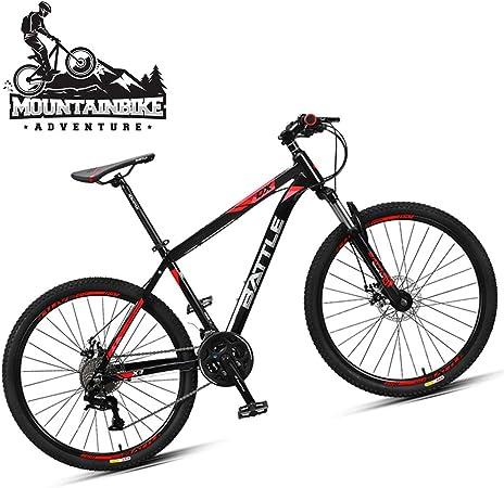 NENGGE Hard Tail Bicicleta Montaña 26 Pulgadas 27 Velocidades para Hombre Mujer, Adulto Bicicleta BTT con Suspensión Delantera y Doble Freno Disco, Marco Aleación de Aluminio,Black Red: Amazon.es: Hogar