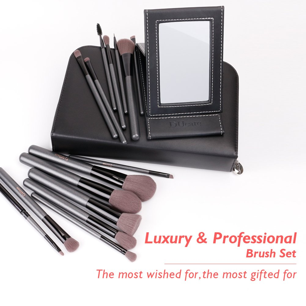 DUcare15 Pcs Pro Makeup Brush Set with Case and Travel Mirror Gift Choice Synthetic Professional Foundation Blending Brush Face Powder Blush Concealer Make Up Brushes by DUcare (Image #4)