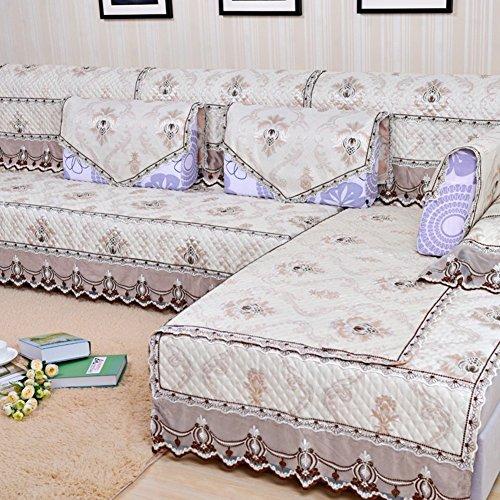 Sofa cushions,fabric european garden non-slip living room combination sofa cover-A 90x240cm(35x94inch) by JIN Sofa mats