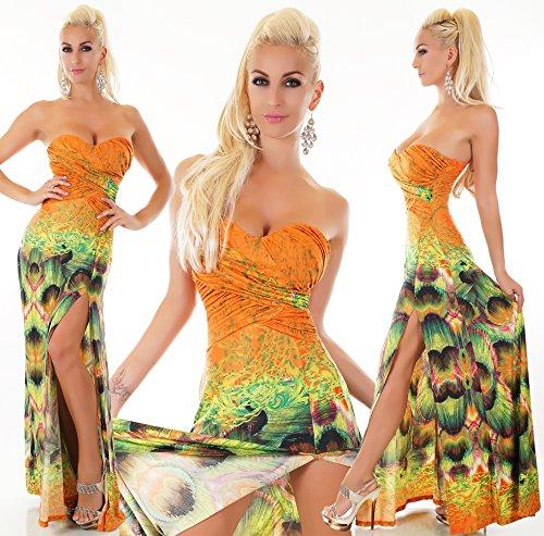 Bandeau mit Ausschnitt Maxikleid Trendstylez hübschen Wickel orange multicolor Damen LG092 fq54ZwTO