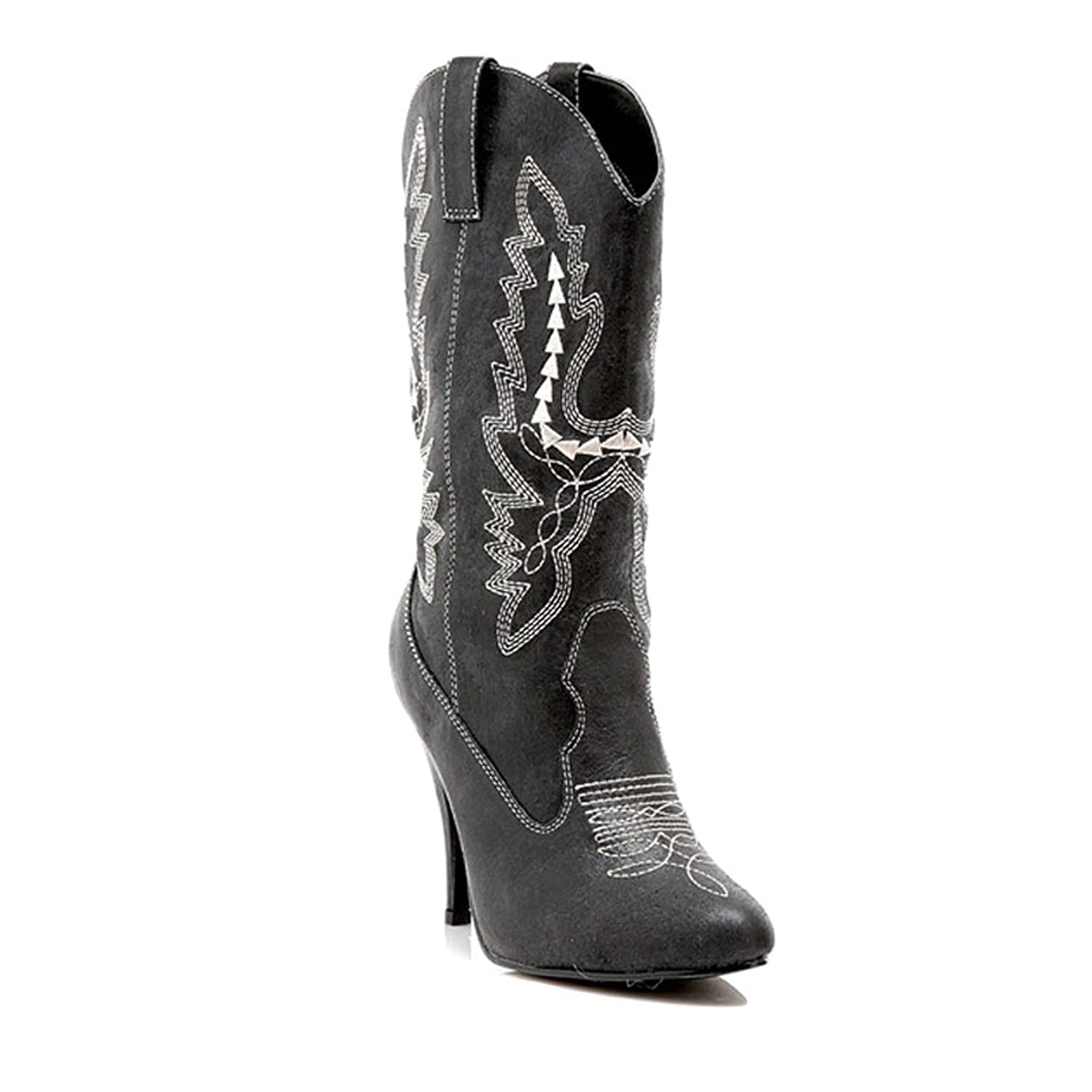 Sexy Black Embroidered Cowgirl High Heel Mid-Calf Boots - DeluxeAdultCostumes.com