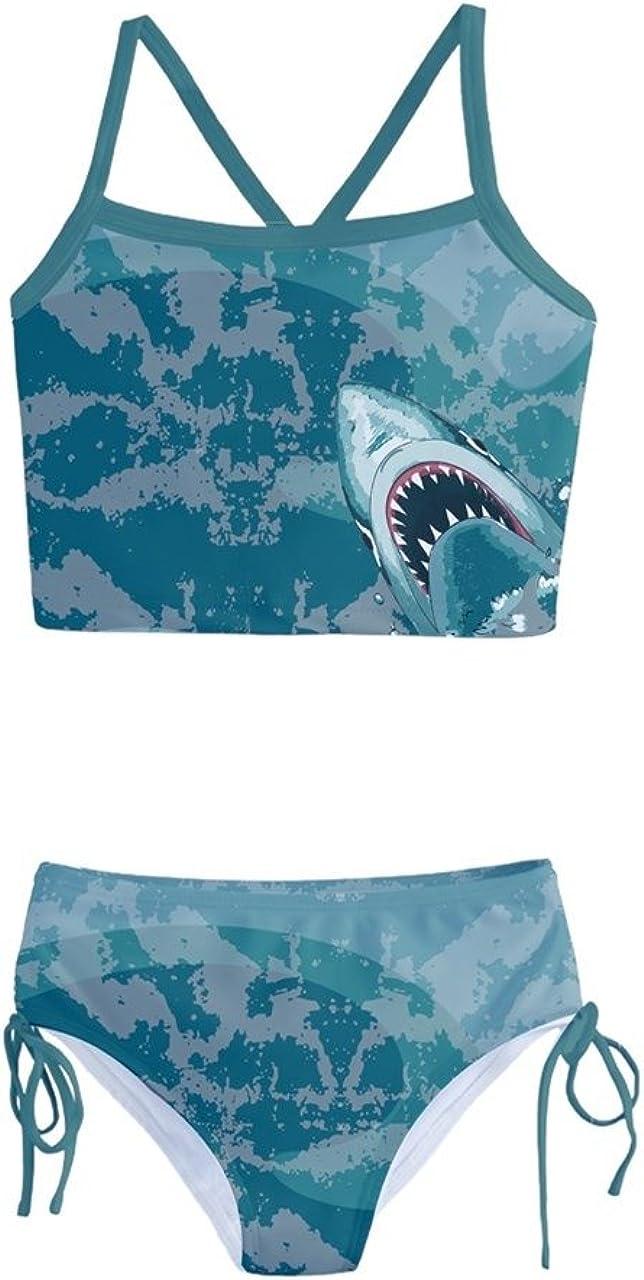 PattyCandy Little Girls Two Piece Cute Tankini Swimsuit Jungle Animals Woondland Duck Sharks Theme Size 2-16