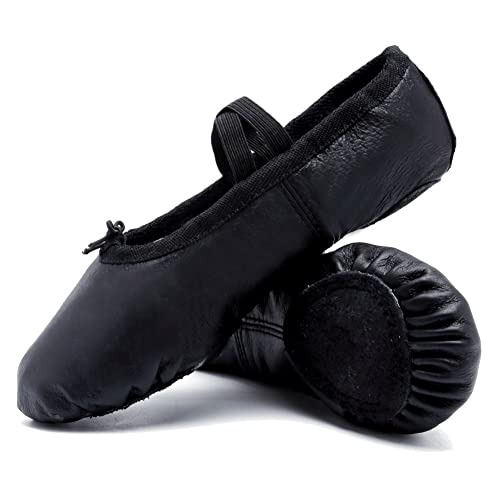 04a11cdaeac1b CIOR Ballet Slippers Premium Leather for Women Girls Classic Split-Sole  Dance Gymnastics Yoga Shoes Flats Black