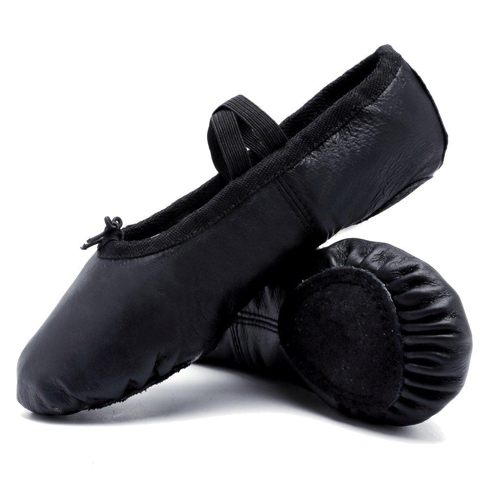 CIOR Ballet Slippers Leather Dance Shoes Yoga Gymnastics Flats(Toddler/Little Kid/Big Kid),VTW02,N.Black,44