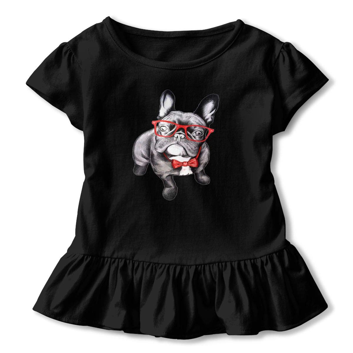 CZnuen Funny French Bulldog with Glass 2-6T Baby Girls Cotton Jersey Short Sleeve Ruffle Tee