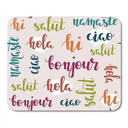 Amazon nakamela mouse pads colorful french greeting words in nakamela mouse pads colorful french greeting words in different languages hi hola ciao bonjour namaste salut m4hsunfo