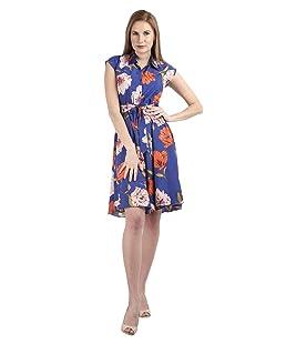 Rudraaksha Women's Crepe Tie Knot A-Line Knee Dress (Blue, Large)