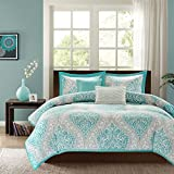 Aqua Blue & Gray Damask Girls Twin Comforter, Sham & Toss Pillows (4 Piece Bed In A Bag) + HOMEMADE WAX MELT