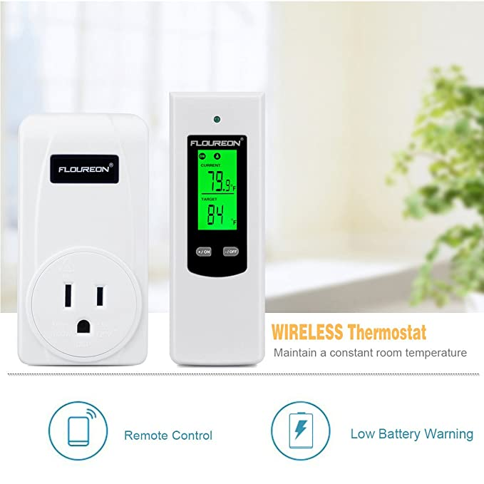 FLOUREON Wireless Thermostat RF Plug Electric Heating and Cooling Temperature Controller RF433MHz Supported LCD Display Green Backlight - - Amazon.com